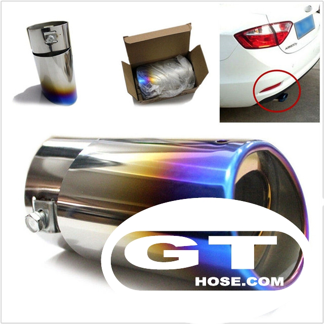 Customized casting stainless steel grilled blue car exhaust pipe muffler